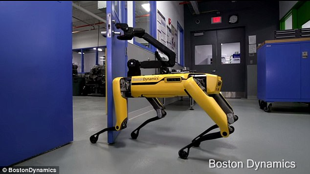 Futuristic Robots: Newest BostonDynamics robot SpotMini has learned how to open doors for his 'friends'