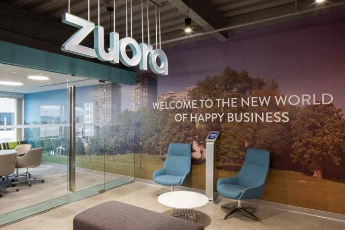 Cloud-based subscription software startup Zuora had a strong debut on Wall Street with share jumps nearly 43% on first day of trading