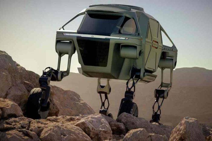 Hyundai unveils Elevate, the first-ever four-legged walking concept car, creating a responder ultimate mobility vehicle (UMV) with movable legs