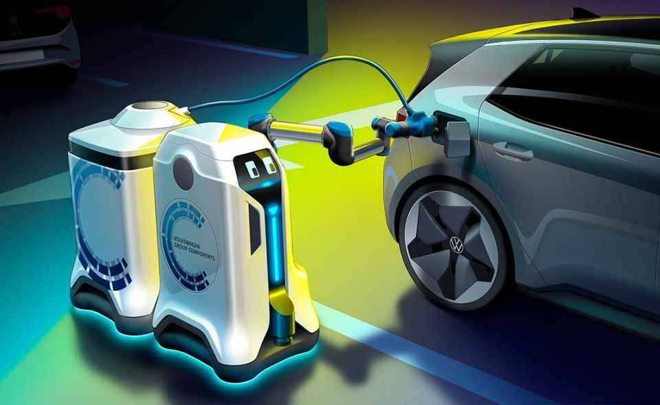 Can't park at an electric charging station for your electric car?Volkswagen just unveiled new autonomous charging robotto juice your battery