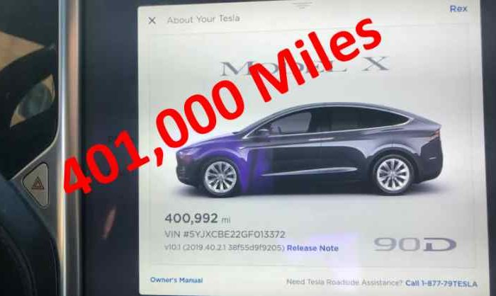 This Tesla Model X has driven over 400,000 miles but comes with repair costs of $29,000 after 40 months