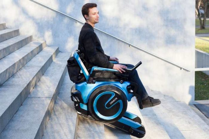 Swiss startupScewo has developed anelectric wheelchair that can climb up and down stairsunassisted