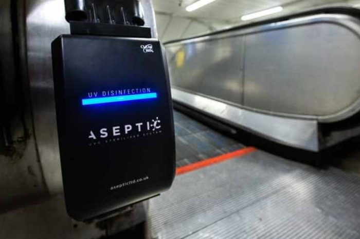 Transport for London deploys devices that generate power from the handrail's movementto produce UV light which sanitizes surfacesof handrails of 110 escalators across its rapid transit system