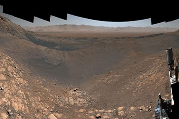 The surface of Mars like you've never seen before. Watch the amazing 1.8 billion-pixel panorama of 1,200 images captured by NASA Curiosity rover after 9 years on the Red planet